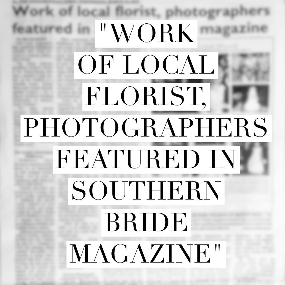 """Work of local florist, photographers featured in Southern Bride Magazine"" Revival Photography Newspaper Article Taylorsville Times www.revivalphotography.com"