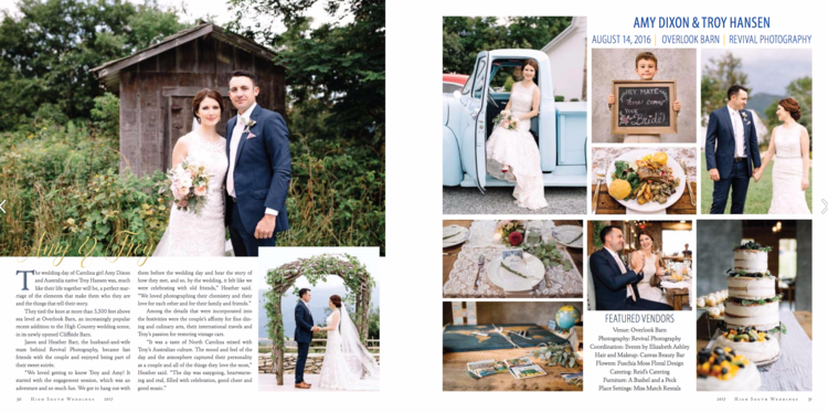 Revival Photography Wedding Published in High South Weddings Magazine