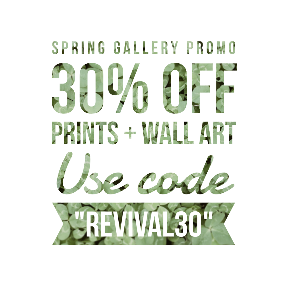 Revival Photography 2017 Spring Print & Wall Art Promo 30% Off www.revivalphotography.com