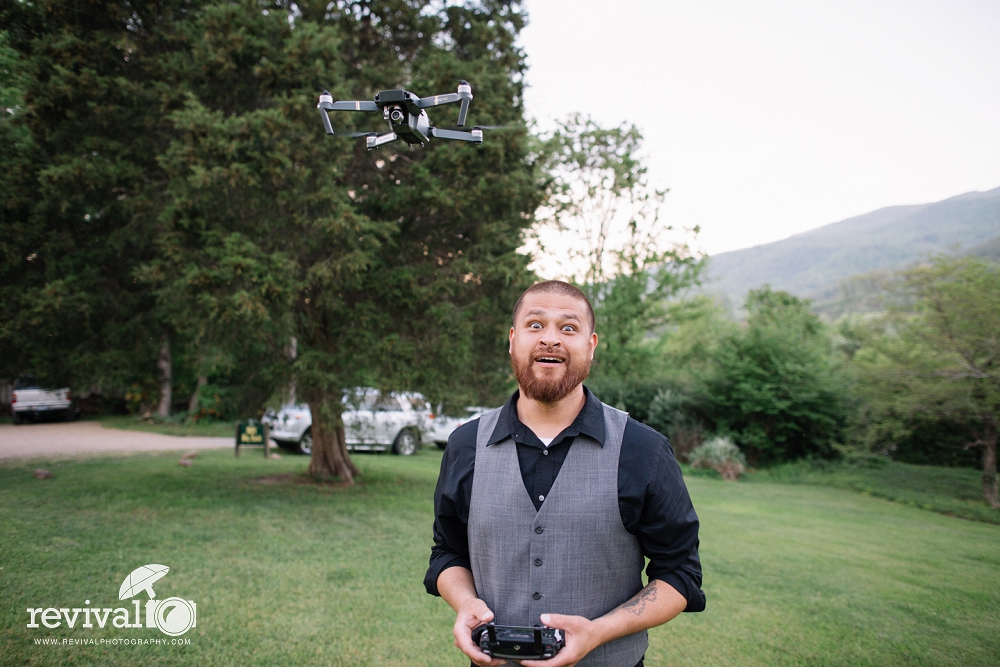 Jason Garris of JG Video Production in Asheville, NC - Behind the Scenes with his Drone getting some epic footage! We love getting to work with him on weddings!