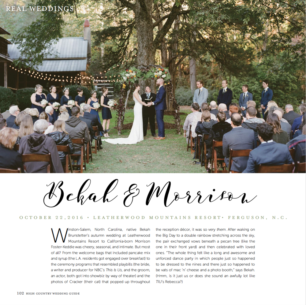 Bekah + Morrison's Wedding Featured in the High Country Wedding Guide 2018 Issue www.revivalphotography.com