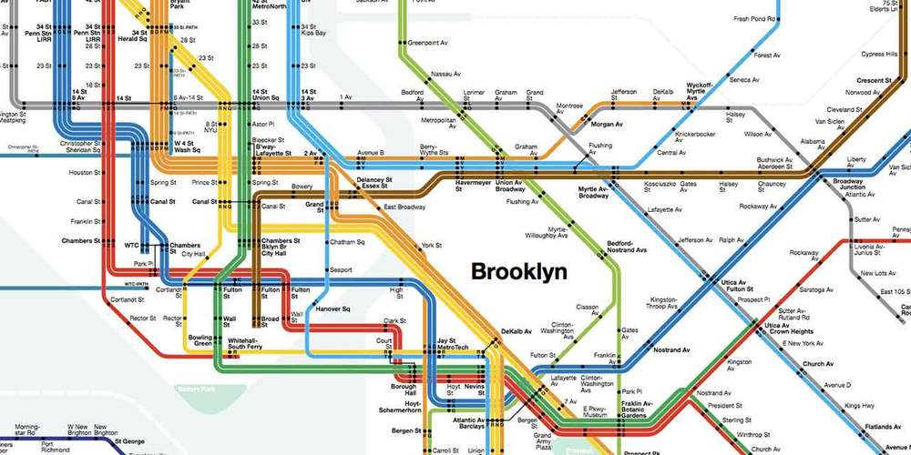 New York Subway Map 1973 - Massimo Vignelli (Source:  Analogue 76 )