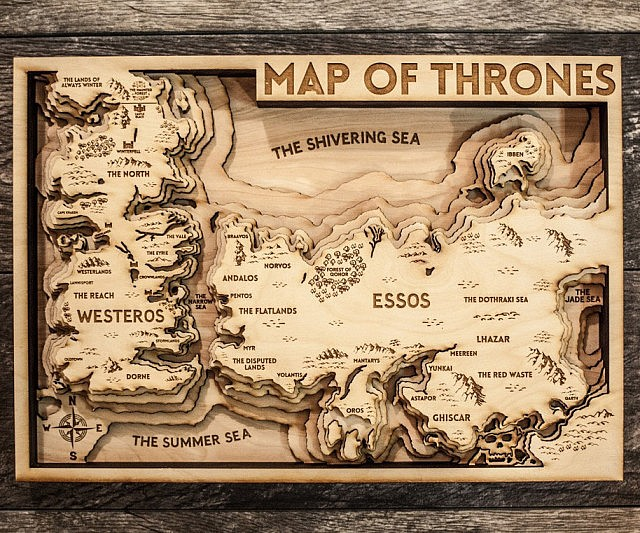 Game Of Thrones 3D wood map (Source:  This is why I'm Broke )