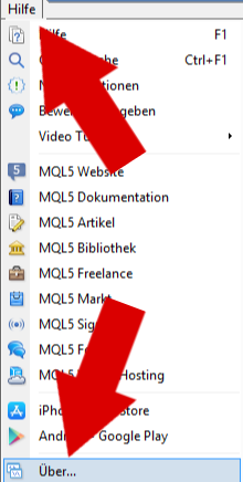Aktuelle Build Nummer in Menü Hilfe -_ Über in MT4 mit Pfeilen.png