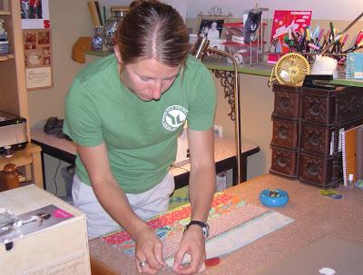 Katie piecing her apron front