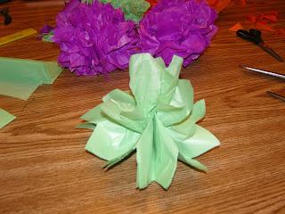 a green pom in progress