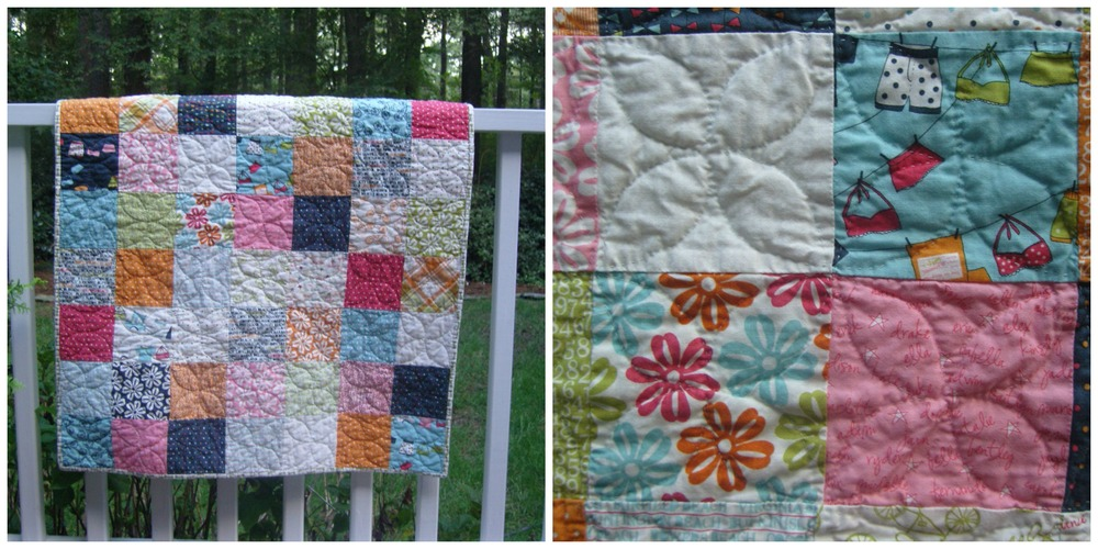 the finished quilt after multiple washings. I love the quilted flower paper!