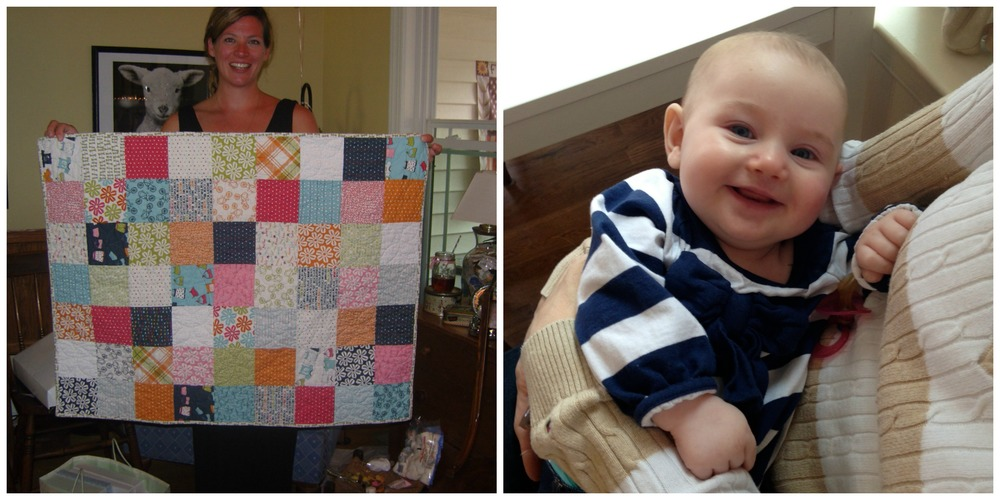 Kate at her baby shower with her new quilt. And later, Maddie Grace in my arms!