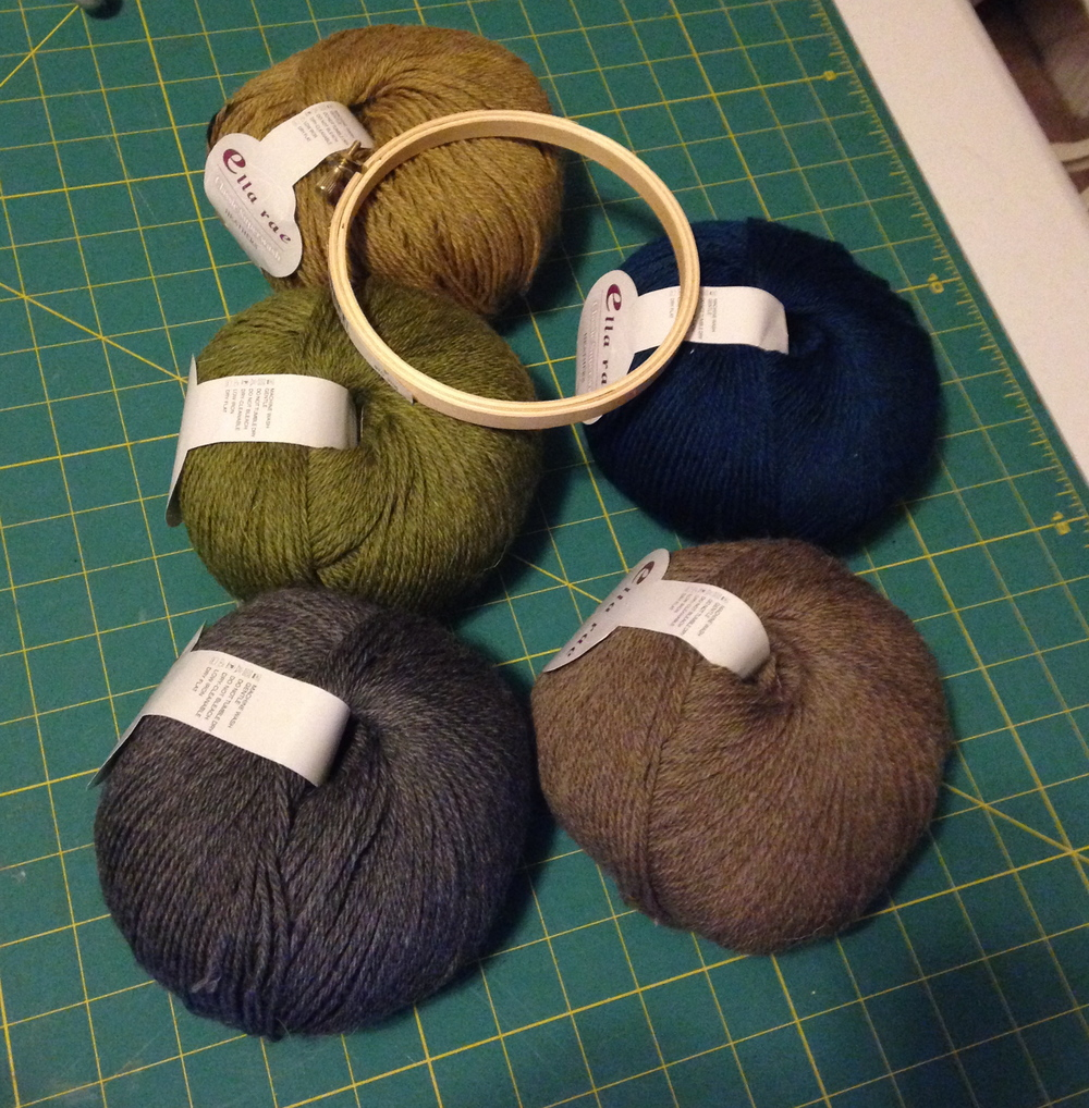 My yarn color selection and my 5 inch embroidery hoop
