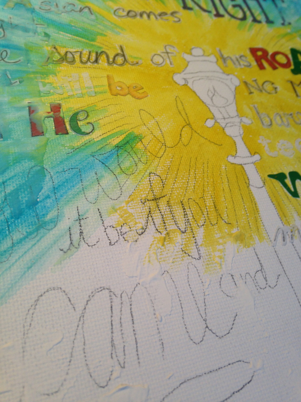 next up... adding color with watercolors started with yellow, added blue