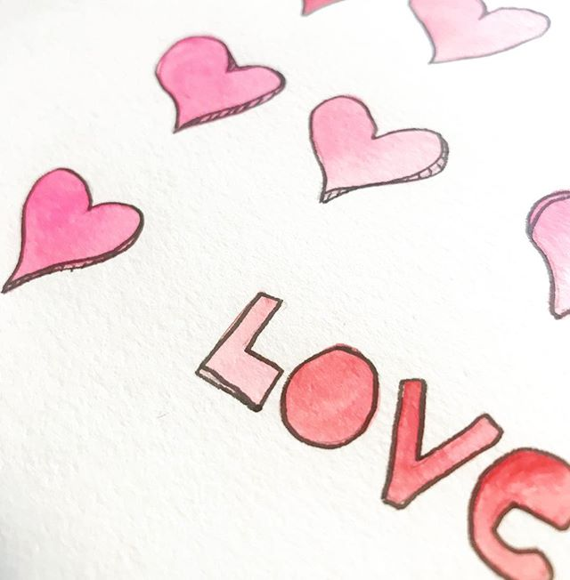 ♥️ But the greatest of these is LOVE. · · #love #thegreatestlove #handmadevalentine #watercolor #pinkandred #february