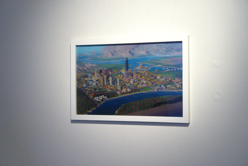 COLL.EO, Homeless in SimCity (after dmex), 2015, framed digital print, 11 x 17 in.