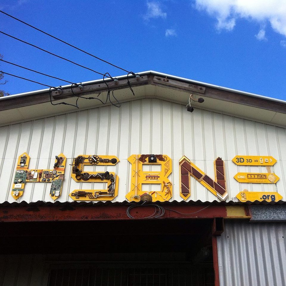 Sign made from reclaimed materials for the Hacker Space Brisbane.