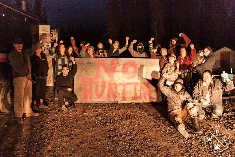 Klabona Keepers and Wildlife Defence League members blockade the only road leading into the Sacred Headwaters from trophy hunters.  Photo credit: Eliza Muirhead