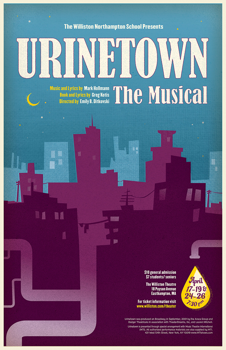 Poster for Urinetown, performed at the Williston Northampton School.
