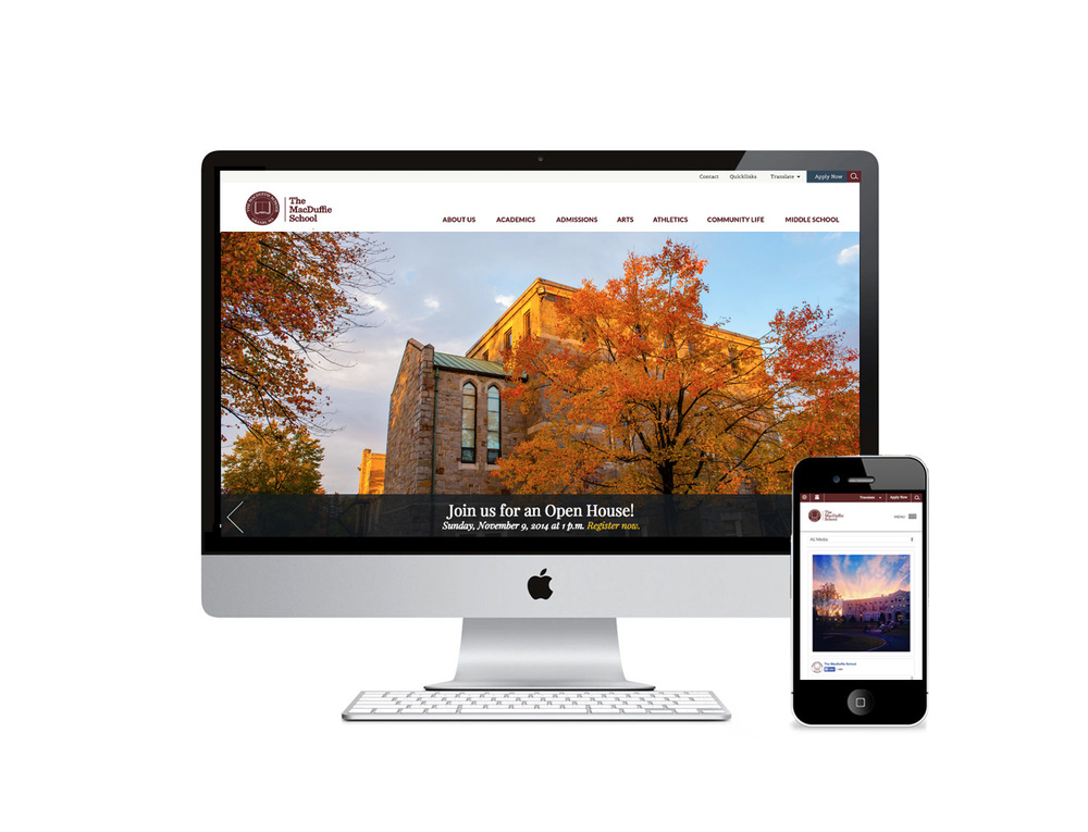 Graphic design for The MacDuffie School included design of their website, blog and sub brands.