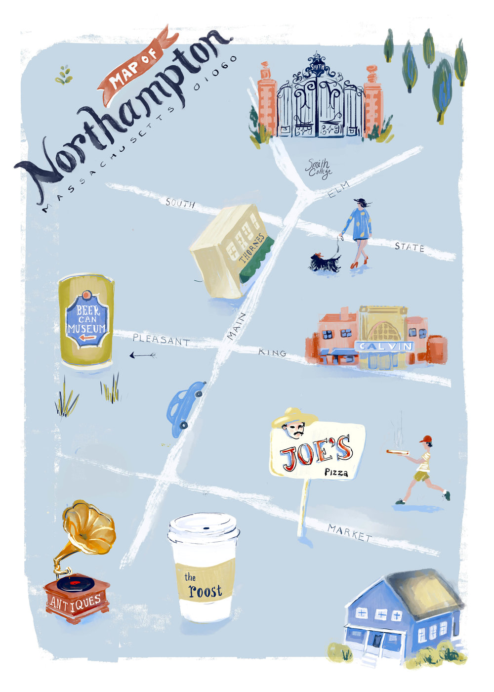 Illustrated map of Northampton, Massachusetts