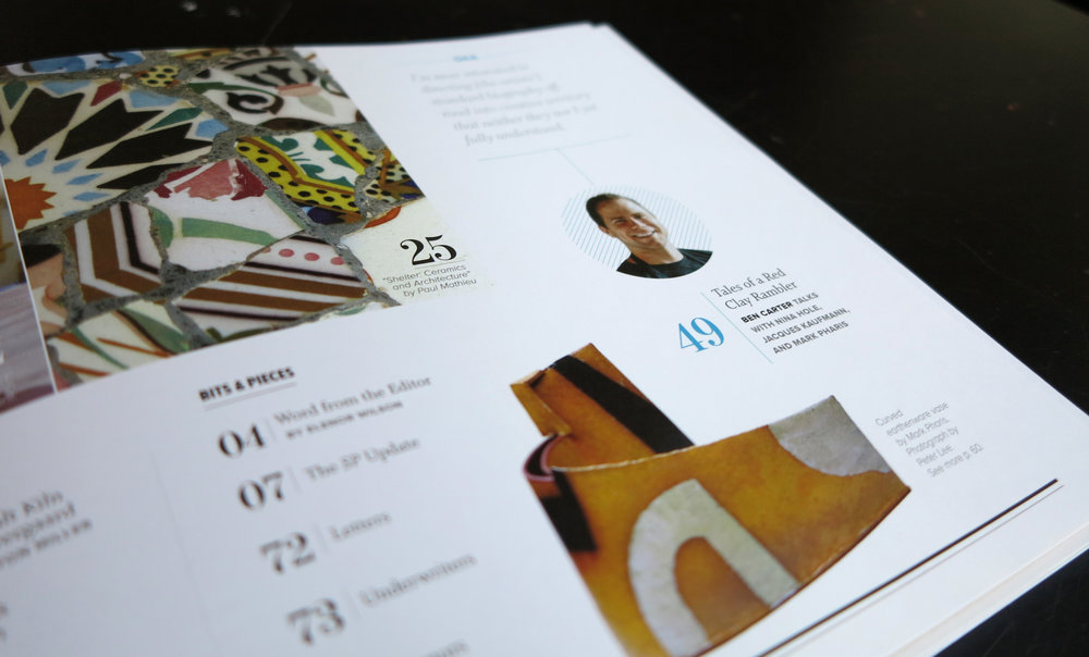 Design and layout of New England based magazine,  Studio Potter.