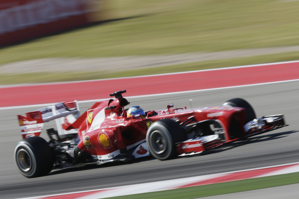Fernando Alonso of Scuderia Ferrari set the fastest lap time once the fog lifted at the first practice session of the 2013 F1 USGP in Austin, Texas. (Image by courtesy of Pirelli.)