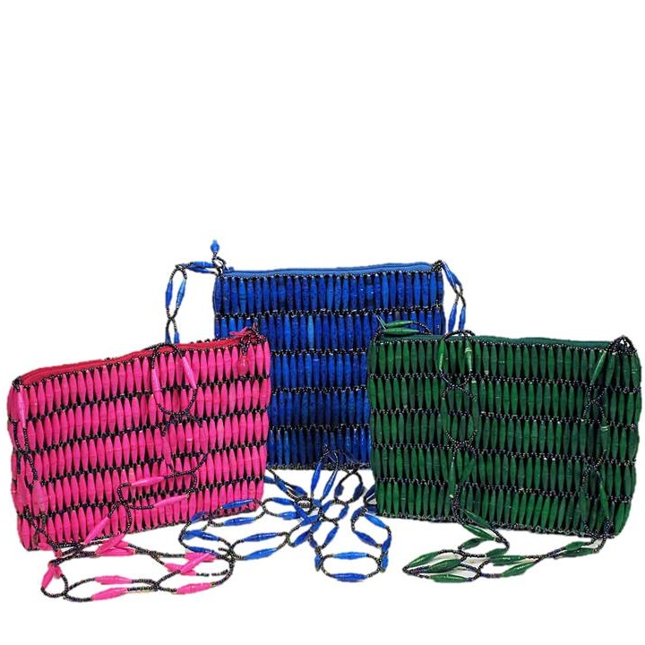 Pink, Blue & Green Handmade, Eco Friendly, Fair Trade, Upcycled, Ugandan Medium Beaded Handbags