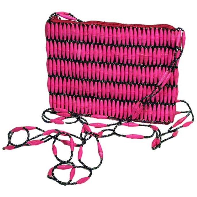 Pink Handmade, Eco Friendly, Fair Trade, Upcycled, Ugandan Medium Beaded Handbag