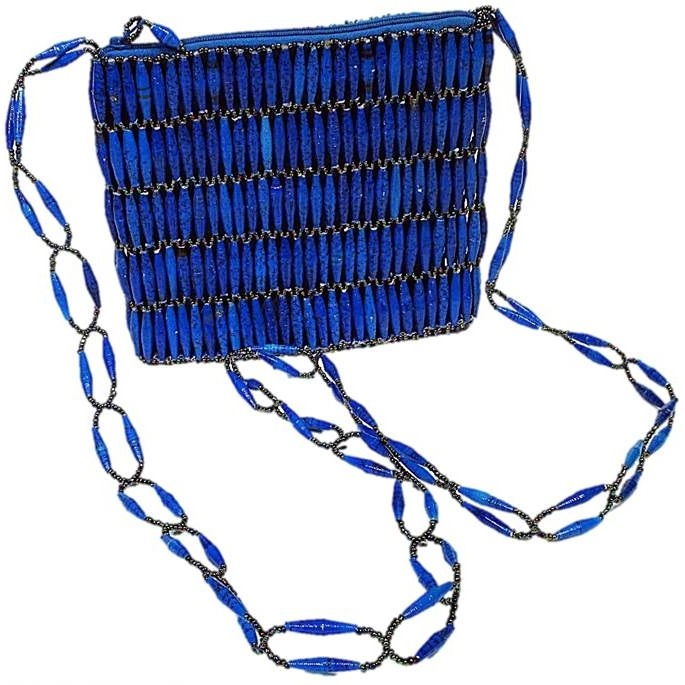 Blue Handmade, Eco Friendly, Fair Trade, Upcycled, Ugandan Medium Beaded Handbag