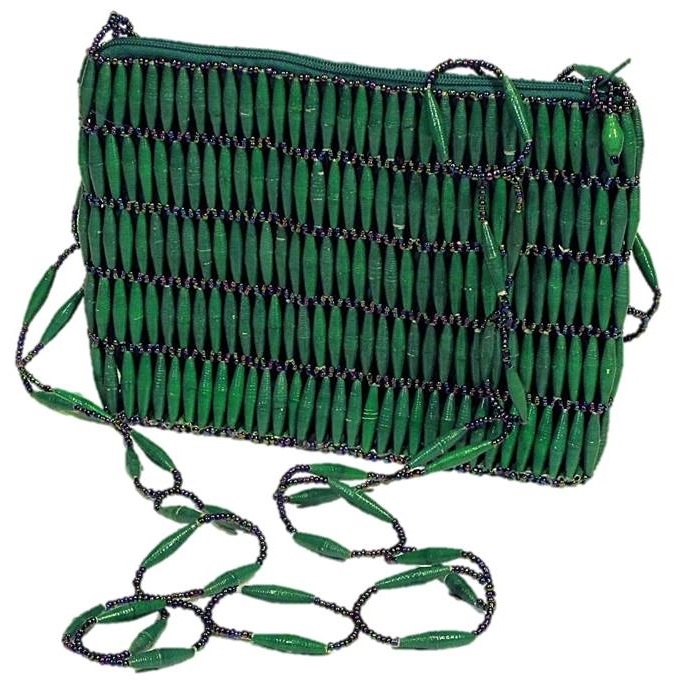 Green Handmade, Eco Friendly, Fair Trade, Upcycled, Ugandan Medium Beaded Handbag