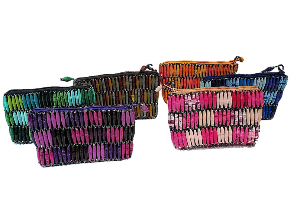 Purple, Pink, Green, Blue, Orange, and Brown Handmade, Eco Friendly, Fair Trade, Upcycled, Ugandan Small Beaded Handbags