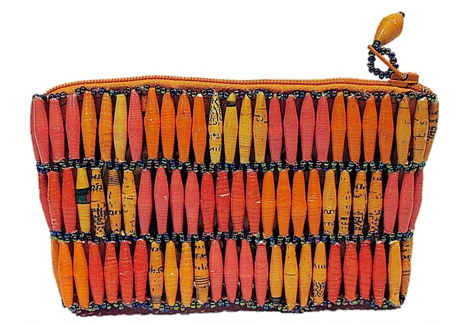 Orange Handmade, Eco Friendly, Fair Trade, Upcycled, Ugandan Small Beaded Handbag