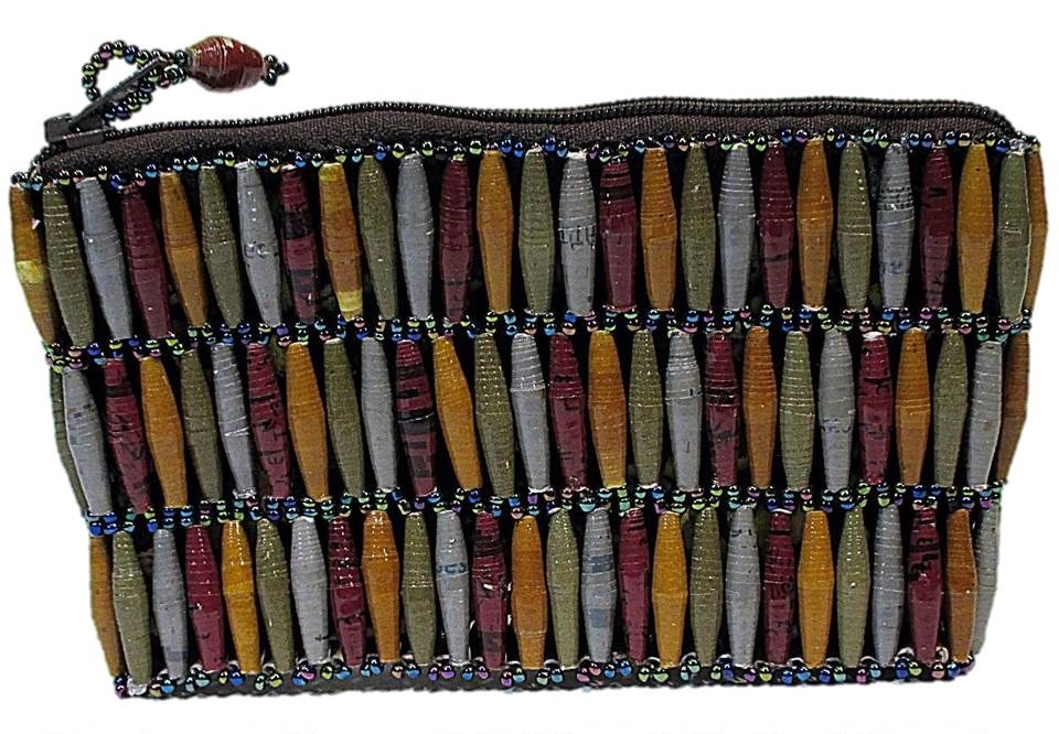 Brown Handmade, Eco Friendly, Fair Trade, Upcycled, Ugandan Small Beaded Handbag
