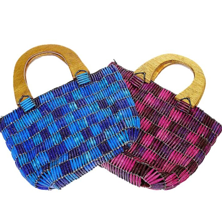 Blue & Purple Handmade, Eco Friendly, Fair Trade, Upcycled, Ugandan Large Beaded Handbags