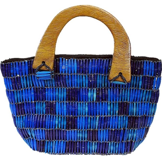 Blue Handmade, Eco Friendly, Fair Trade, Upcycled, Ugandan Large Beaded Handbag