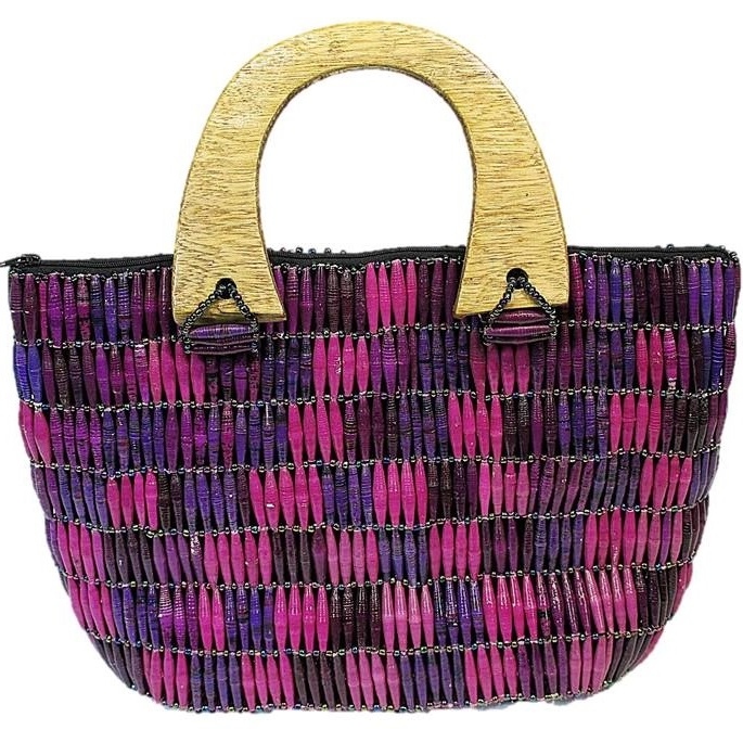 Purple Handmade, Eco Friendly, Fair Trade, Upcycled, Ugandan Large Beaded Handbag