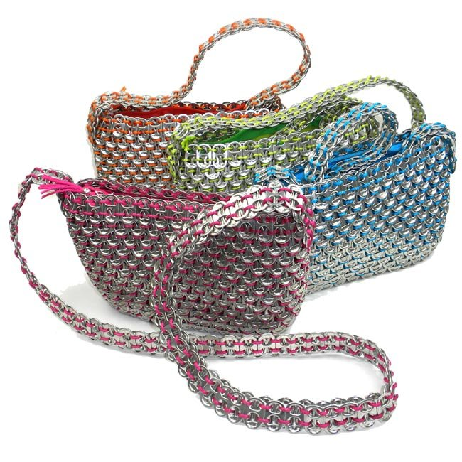 Green, Pink, Blue, & Orange Handmade, Eco Friendly, Fair Trade, Upcycled, Mexican Purse