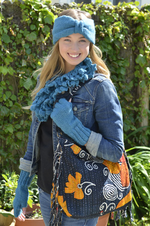 Person with Handmade, Eco Friendly, Fair Trade, Upcycled, Indian Large Purse