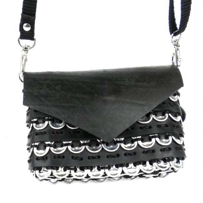 Upcycled Pop Tops & Tire Tubes, Small Purse, Handbag, Handmade, Eco Friendly, Fair Trade