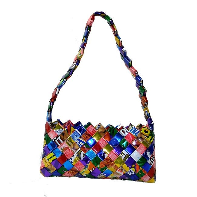 Upcycled Candy Wrappers, Medium Purse, Handbag, Handmade, Eco Friendly, Fair Trade