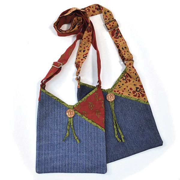 Upcycled Denim, Medium Purse, Handbag, Handmade, Eco Friendly, Fair Trade