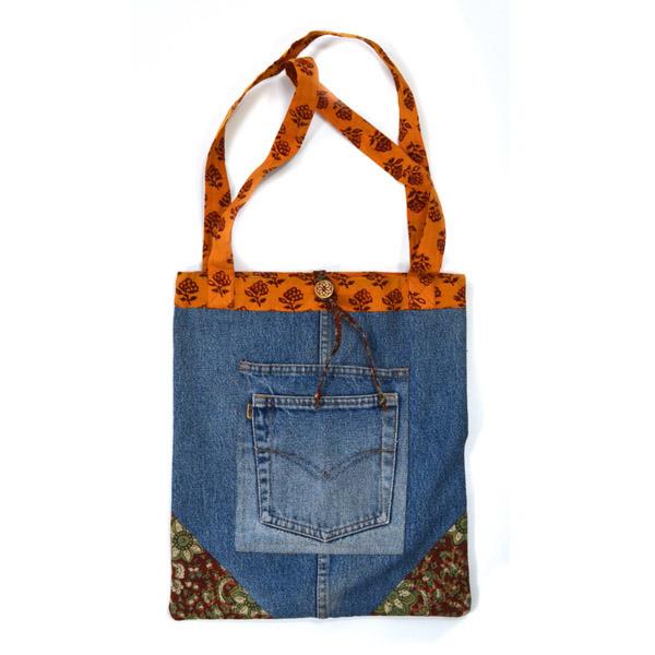 Upcycled Denim, Large Purse, Handbag, Handmade, Eco Friendly, Fair Trade