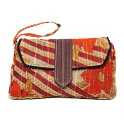 Upcycled Kantha, Wristlet, Purse, Handbag, Handmade, Eco Friendly, Fair Trade