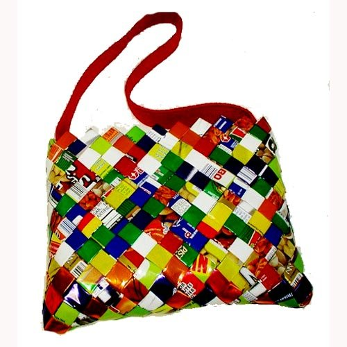 Handmade, Eco Friendly, Fair Trade, Upcycled, Mexican Large Purse with Fabric Strap