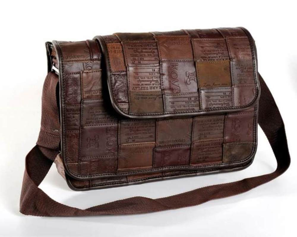 Messenger Bag, Upcycled Leather Jean Labels, Handbags, Bags, Handmade, Eco Friendly, Fair Trade