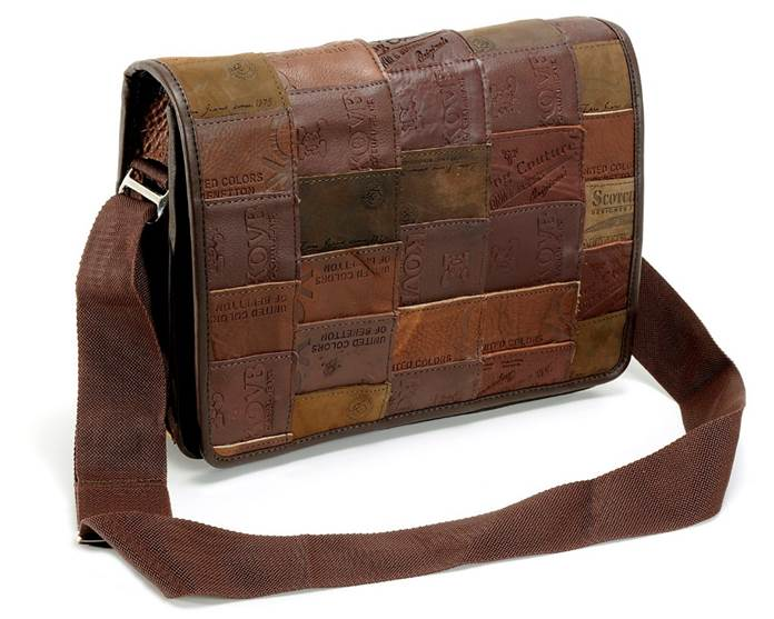 Medium Messenger Bag, Upcycled Leather Jean Labels, Handbags, Bags, Handmade, Eco Friendly, Fair Trade