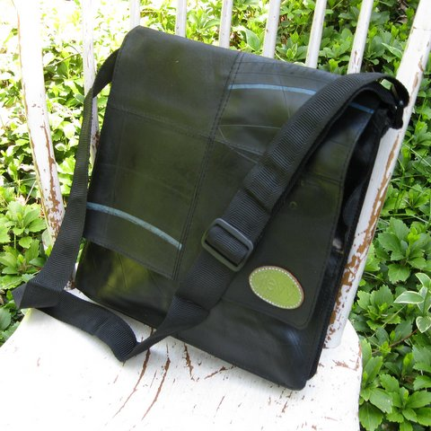 Upcycled Tire Tubes, Small Messenger Bag, Handmade, Eco Friendly, Fair Trade