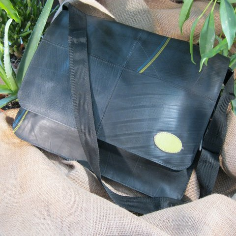 Upcycled Tire Tubes, Large Messenger Bag, Handmade, Eco Friendly, Fair Trade