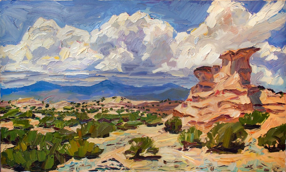 "Noonday sentinel (sold), 36"" x 60"", oil impasto on canvas. 2013. Painted on-site in Nambe, NM."