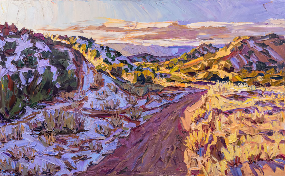 "The northward slope and the sunset light , 39"" x 63""."