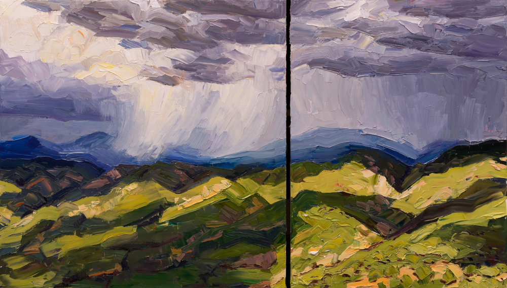 "Mountains squalls, valley light; 40"" x 70"" (diptych), available through Altamira Fine Art – (307) 739-4700 or connect@altamiraart.com"