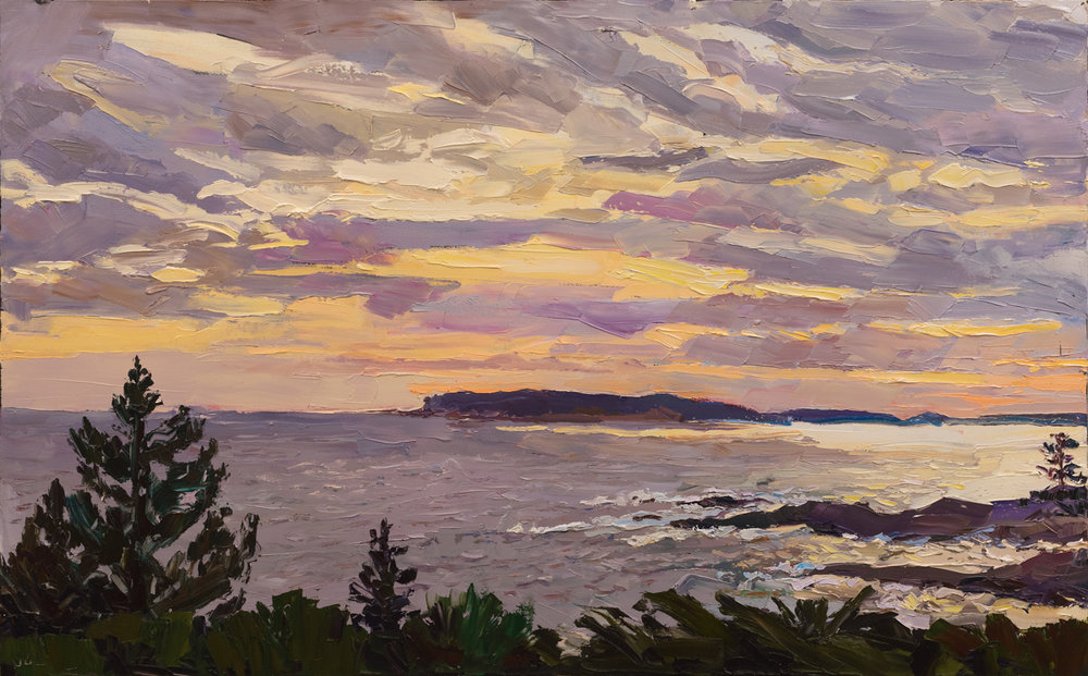 "Thrumcap Island from Pemaquid Point, 36"" x 58"", 2016. Painted on location in Maine."
