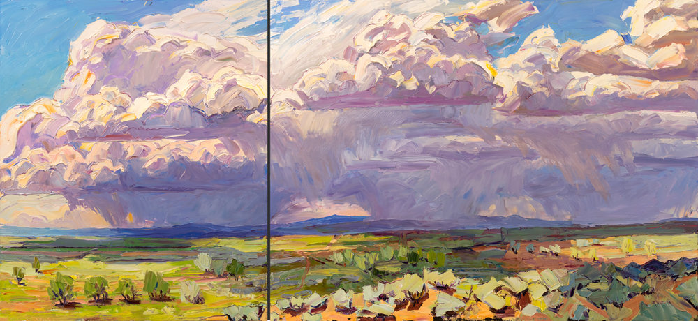 "The view from Blueberry Hill, 36"" x 78"" diptych. Painted on location in Taos, NM."